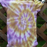 Funky Baby Bodysuits, 12M Tie Dye Bodysuits in gold and purple, 2 available, Twin Girls Gift, Twin Baby Gift, Hippie Baby Boho Baby 12 month