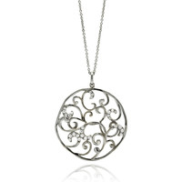 Brass Rhodium Plated Outline Flower Necklaces