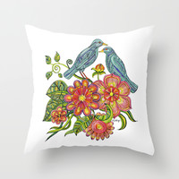 Fly Away With Me - Hand drawn illustration with birds, flowers and leaves. Throw Pillow by Micklyn