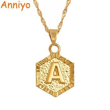 Anniyo A-Z Letters Gold Color Charm Pendant Necklaces for Women Girls English Initial Alphabet Chain Jewelry Gifts #114006