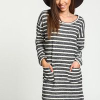 Striped Sweater Knit Dress with Pockets