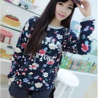 Dongkuan retro flowers letters printed cashmere sweater