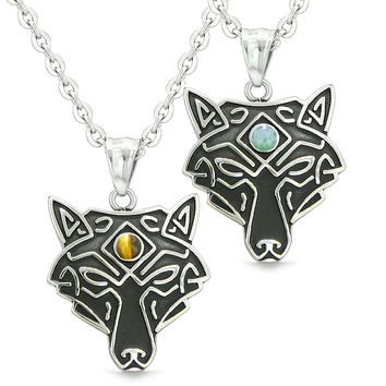 Celtic Wolf Third Eye Protection Magic Love Couple or Best Friends Set Green Quartz Tiger Eye Necklaces
