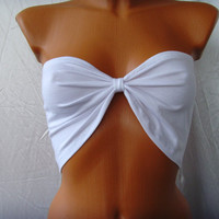 FREE SHIPPING Yoga Sport Summer Bandeau Bra Tube Top In White Bow Ribbon Custom Order