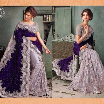 Blue and Grey Velvet Pallu Bollywood Sarees Online