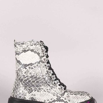 Snakeskin Chained Lace-Up Combat Ankle Boots