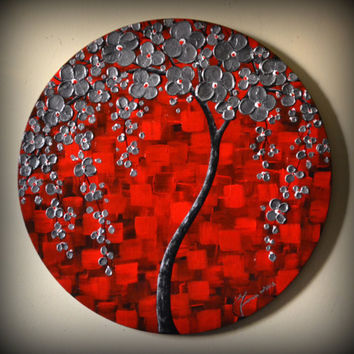 "ORIGINAL Fine Art Modern Silver Red Black Tree Painting Textured Landscape Home Decor 20"" Abstract Palette Knife Artwork"