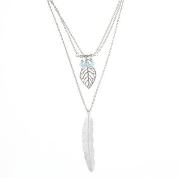 Simple Turquoise Necklace Leaf and Feather Pendant