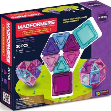 Magformers 30 Pcs Inspire Clear Solid Magnetic Construction Set