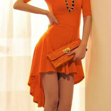 Orange Short Sleeve Midi Dress