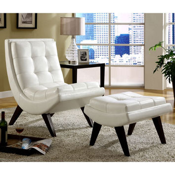 HomeHills 22876S651S(3A) White Faux Leather Lounge Chair with Ottoman