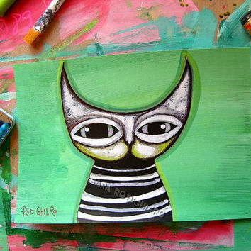 Mr. Cat ~ orig. cat illustration on paper - Acrylic paint & watercolor - cats - pop art cat - Cat art -