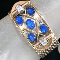 Kreisler Sapphire Rhinestone Bracelet Wide Mesh Band Gold Tone Setting Crystal Glass Stone Highlights Mid Century Jewlery 318