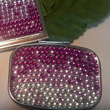 Sparkly Pink & Purple Crystal Pillbox