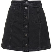 PETITE MOTO Black Button Front Skirt - Black