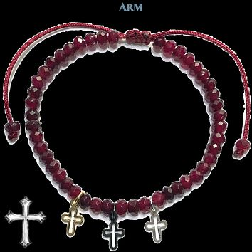 TINY TREASURES | Faceted Red Jade | Trinity of the Cross | Adjustable Pull Tie Macrame Bracelet