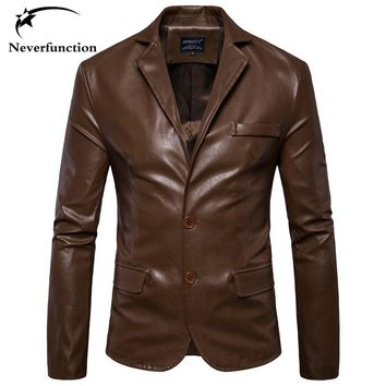 Autumn New Men Faux Leather Fashion Casual Dress Blazers Jacket Slim Men's high quality Motorcycle Wedding Party Suit Jacket