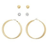 Stud & Hoop Earrings - 3 Pack by Charlotte Russe - Gold