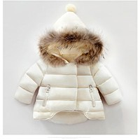 winter infant coat baby down padded coat girls white duck down feather coat girls and boy Milky white Thickening Outerwear