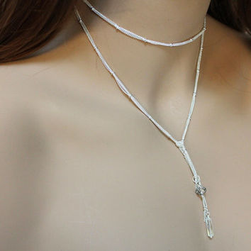Silver Choker Necklace, Dainty Silver Lariat Necklace, Women's Crystal Bead Wrap Jewelry, Thin Bright Silver Open Necklace