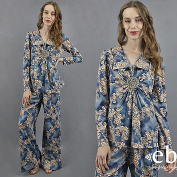 Two Piece Set Two Piece Outfit Matching Set Hippie Outfit Vintage 70s Blouse + Bell Bottoms Ensemble 70s Pants 1970s Shirt 1970s Pants S M