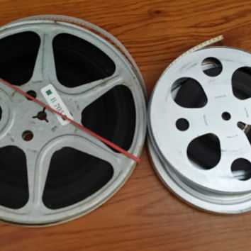 Vintage 8mm Metal Film Reels and Canister Set of 2 Home Movies Great for Media Room Decor Repurposing Upcycling Altered Art