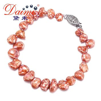 DAIMI 7-8mm Baroque Pearl Bracelet  Natural Freshwater Pearl Bracelet Keshi Pearl Biwa Pearl Bracelet