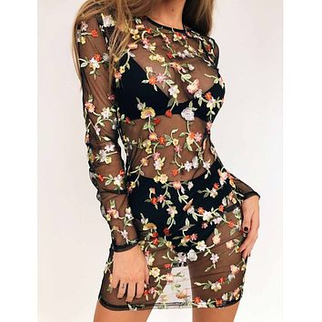 Temptation Fashion Floral Embroidery Gauze Perspective Long Sleeve Beach Mini Dress