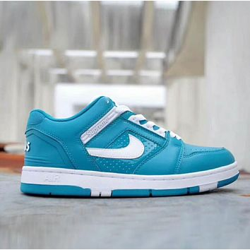Nike SB Air Force 2 x Supreme Fashion Women Men Casual Running Sport Low Help Shoes Blue I-XYXY-FTQ