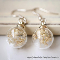 Nature Inspired Jewelry Real Dried Clover Earrings Gift (HM0046-SLIVER)