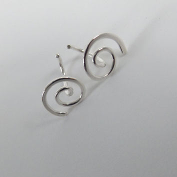NEW AVAIL-Earrings, Sleeper Earrings, Swirl Earrings, Hammered Earrings, Circle Earrings, Metal Earrings, Modern Jewelry, Minimalist