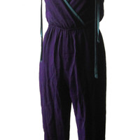 Vintage Purple Jumper Jumpsuit With Red and Teal Accents Disco