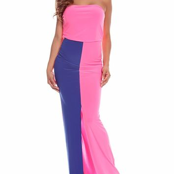 NEON PINK ROYAL STRAPLESS MIDDLE SLIT LONG MAXI DRESS