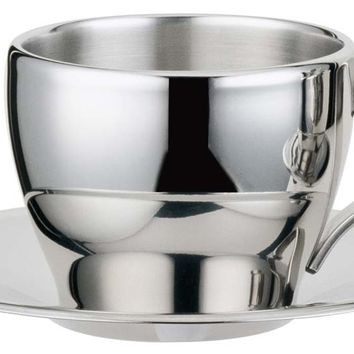 Visol Capuccino Stainless Steel Double Walled Cup With Saucer
