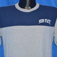 80s Penn State University Blue Gray Color Block Jersey Ringer t-shirt Medium