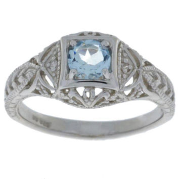 Genuine Aquamarine & Diamond Round Ring .925 Sterling Silver