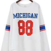 White Long Sleeve Michigan 88 Print T-Shirt