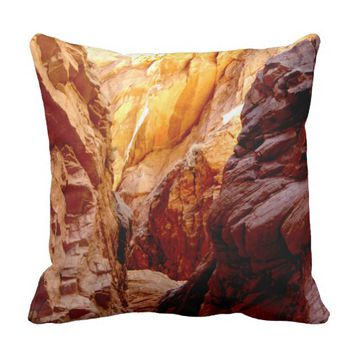 Rustic Southwest Slot Canyon Nevada Square Pillow