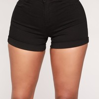 No Muffin Top Denim Shorts - Black