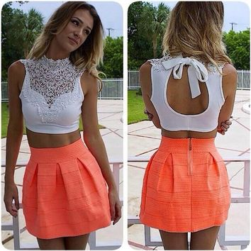 Sheer Backless Short Hollow Out Lace Vest Tank Tops