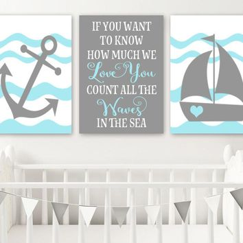 Boy NAUTICAL Nursery Wall Art, Baby Boy Nautical Nursery Wall Decor, Count the Waves in the Sea, Anchor Sailboat, Set of 3, Canvas or Prints