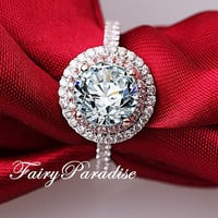 Unique 2 Ct Round Cut Man Made Diamond Two Tone Double Halo Engagement Ring / Promise Ring with gift box (FairyParadise)