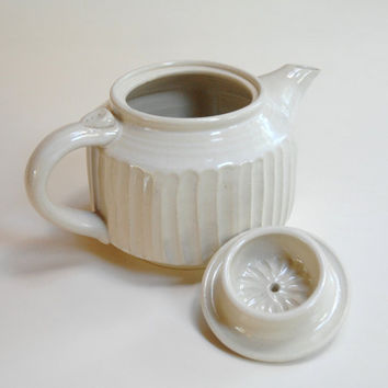 White pottery teapot,Stoneware teapot,White tea maker,Ceramic teapot,Square pot,Tea for two,White clay teapot,Tea service,Canadian Pottery,