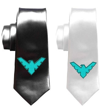 Superhero Nightwing necktie, batman ties, Geek Wedding ties, Groomsman skinny tie, superheroes