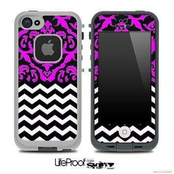 Mirrored Lace Hot Pink Chevron Pattern Skin for the iPhone 5 or 4/4s LifeProof Case