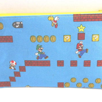 Super Mario Brothers Fabric Zipper Pouch // Luigi Pencil Case // Mario Pouch // Super Nintendo Pouch // Mario Birthday