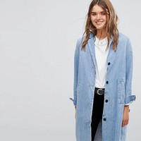Levi's Long Line Denim Coat with Raw Hem at asos.com