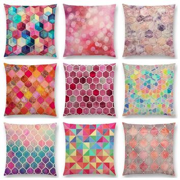 Rainbow Pastel Watercolor Moroccan Hexagon Pattern Colorful Gemstone Crystal Cubes Cushion Cover Decor Sofa Throw Pillow Case