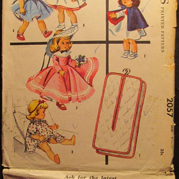 SALE Uncut 1950's McCall's Sewing Pattern, 2057!Diminutive Doll's wardrobe/Ginny/Wendy/Muffie/Lingerie Lou/Girls Daily Dolly Clothes/Outfits