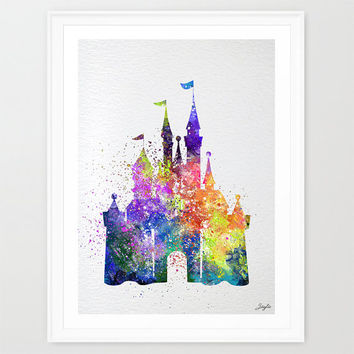 Cinderella Disney Princess Castle Watercolor illustration Art Print,Wall Art Poster,Home Decor Art,Wall Hanging,Kids Art,Birthday Gift, #211